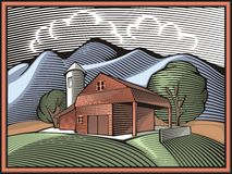 Countrylife and Farming Illustration in Woodcut Style. Illustration of a farm, surrounded by fields and mountains, done in retro woodcut style Stock Images