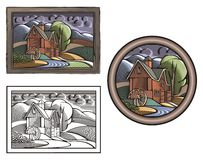 Countrylife and Farming Illustration in Woodcut Style. Illustration of a farm with a water mill, done in retro woodcut style Stock Photo