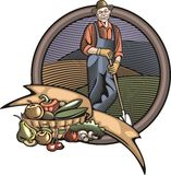Countrylife and Farming Vector Illustration in Woodcut Style. Vector illustration of a farmer, made in retro woodcut style Royalty Free Stock Images