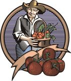 Countrylife and Farming Illustration in Woodcut Style. Illustration in retro woodcut style of a farmer with good harvest Royalty Free Stock Image