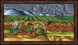 Countrylife and Farming Vector Illustration in Woodcut Style Royalty Free Stock Image