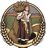 Countrylife och lantbrukillustration i träsnittstil Arkivbilder