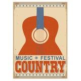 Countrymusik-Festivalhintergrund mit Text Altes Plakat w des Vektors Stockfotografie