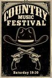 Countrymusik-Festivalplakatschablone Cowboyhut mit gekreuzten Revolvern Wildes Westthema Gestaltungselement für Plakat, Karte, ba lizenzfreie abbildung