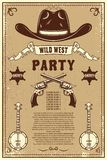 Countrymusik-Festivalplakatschablone Cowboyhut mit gekreuzten Revolvern Wildes Westthema Gestaltungselement für Plakat, Karte, ba stock abbildung
