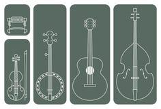 Countrymusik-Instrumente Lizenzfreie Stockfotografie