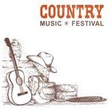 Countrymusikbakgrund med gitarr- och amerikancowboyen skor a vektor illustrationer