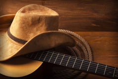 Countrymusikbakgrund med gitarren Royaltyfri Fotografi