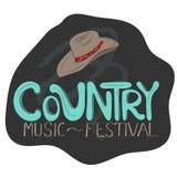 Countrymusikillustration bruk f?r ritt f?r h?st f?r cowboyhatt vektor illustrationer