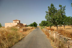 Countryroad. On mallorca with a wall and a house Stock Photos