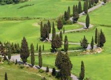 Countryroad italiano típico en Toscana Foto de archivo