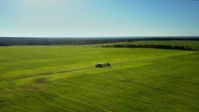 Countryscape verde infinito da vista aérea com maquinaria filme