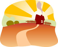 Countryside. Vector illustration of countryside with house and sunset vector illustration