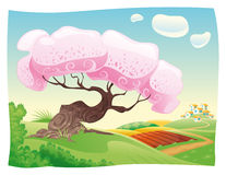 Countryside. Vector and cartoon landscape. Objects isolated Royalty Free Stock Images