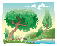 Countryside. Vector and cartoon landscape. Objects isolated Stock Photography