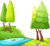 Countryside. Illustration of isolated cartoon view countryside on white Royalty Free Stock Photos