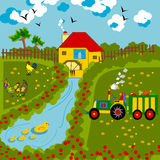 Countryside. Illustration is a rural landscape where you can see a house with a water mill, the hens peck and a tractor carrying vegetable crops Royalty Free Illustration