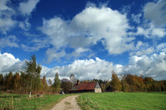 Countryside. Autumn landscape and countryside house in Latvia Stock Image