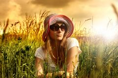 Countryside. A portrait of a beautiful woman in a countryside Royalty Free Stock Photos