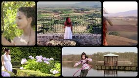 Countryside activities collage. People in countryside stock video