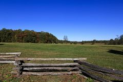 Split Rail Fence and Field at Appomattox. The countryside of Appomattox Court House in Virginia where the Confederate Army surrendered royalty free stock image