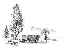 Countryside artistic drawing. Rural nature and cart sketch Stock Photo