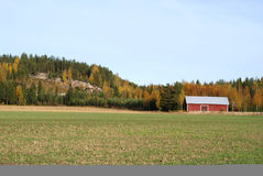Countryside In Autumn. A cultivated field, a red farm storage building and forest with autumn colors on the background. Photographed in Pertteli, South of Royalty Free Stock Photo