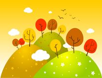 Countryside autumn landscape. Vector illustration, meadows with trees Stock Photo