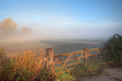 Countryside background with gate Royalty Free Stock Images