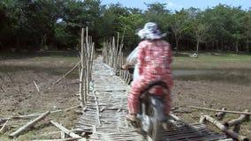 bamboo, bridge, cambodia stock video footage