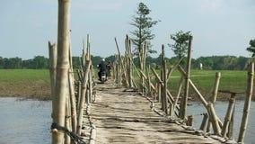 bamboo, bridge, cambodia stock footage