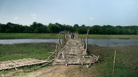 bamboo, bridge, cambodia stock footage