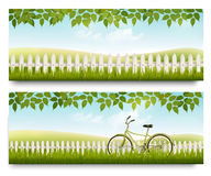 Countryside banners with grass, white fence and leaves. Stock Photos