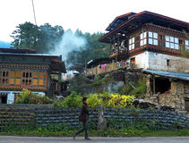 Countryside in Bhutan. A Rural Village in the Countryside of Bhutan in the Evening Stock Image