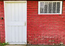 Countryside brick house outide facade front door Stock Images