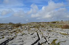 Countryside of Burren with blue cloudy skies. The countryside of Burren with blue cloudy skies with rocky land Stock Photos
