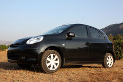 Countryside Car. A black hatchback car parked in the countryside grass Royalty Free Stock Photos