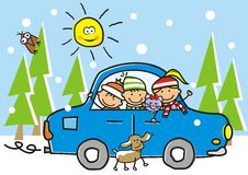 Countryside with car, children and animasl. Royalty Free Stock Photos