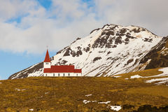 Countryside church on hill during winter season located in Vik Iceland Royalty Free Stock Images