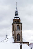 Countryside church over the snow, winter day Royalty Free Stock Images