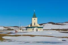 Countryside church during winter season Royalty Free Stock Photo