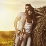 Countryside couple portrait Stock Photo