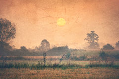 Countryside at dawn - Vintage image Stock Photography