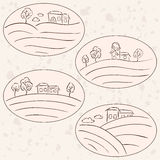 Countryside drawings - houses landscape labels Royalty Free Stock Images