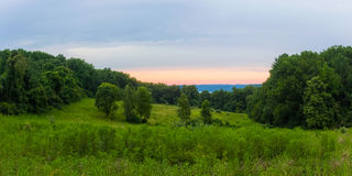 Countryside at Dusk. A panoramic view at dusk of the countryside in Havre de Grace Maryland stock photos