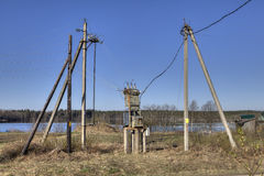 Countryside Electricity supply power lines,  substation Transfor Stock Images