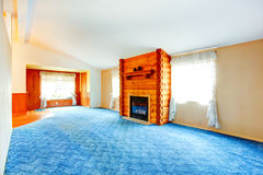 Countryside empty house interior with fireplace. Royalty Free Stock Images