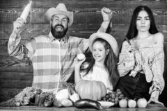 Countryside family lifestyle. Farm market with fall harvest. Family farm festival concept. Man bearded rustic farmer stock images