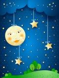 Countryside, fantasy illustration at night Royalty Free Stock Photos