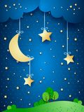 Countryside, fantasy illustration at night.  Stock Photography